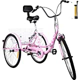 Bkisy Tricycle Adult 24'' 1-Speed 3 Wheel Bikes for Adults Three Wheel Bike for Adults Adult Trike Adult Folding Tricycle Foldable Adult Tricycle 3 Wheel Bike Trike for Adults (Pink)