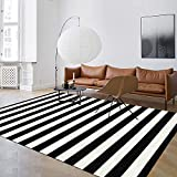 Seavish Indoor Outdoor Patio Rugs, 59' x 94.5' Black and White Striped Rug Handmade Woven Farmhouse Rug, Machine Washable Stripe Carpet Cotton Rug for Living Room/Entry Way/Laundry