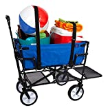 MacSports Heavy Duty Outdoor Folding Wagon Double Decker Portable Lightweight Utility Cart Rolling Cart All Terrain Beach Wagon with Straps for Camping Gear, Beach Accessories (Royal Blue)