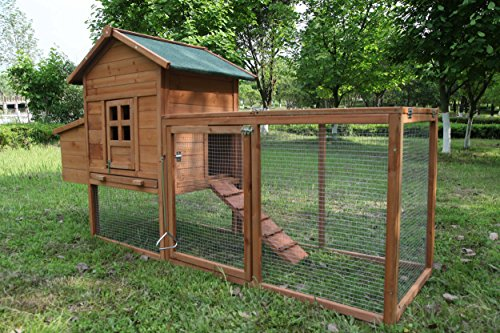 ECOLINEAR Outdoor 80'' Wooden Chicken Coop Nest...