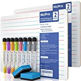 Nicpro Dry Erase Lap Board 9 x 12 inches 2 Pack Ruled Kid Double Sided Blank & Lined Small Lapboard...