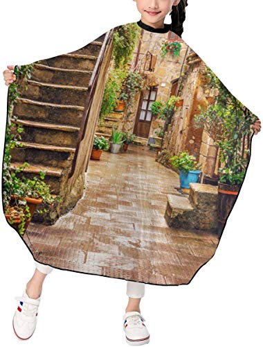 grembiule da taglio Alley in Old Town Pitigliano Tuscany Italy Cityscape Kids Haircut Barber Cape for Hair Cutting Professional Home Salon Hairdressing Smock Cover