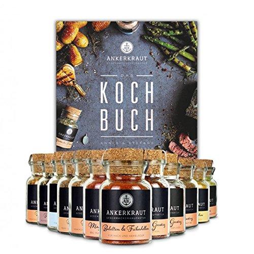 Ankerkraut Kochbuch Set mit 12 Korkengläsern, einfache Rezepten zum Nachkochen für Jedermann, Geschenk-Set