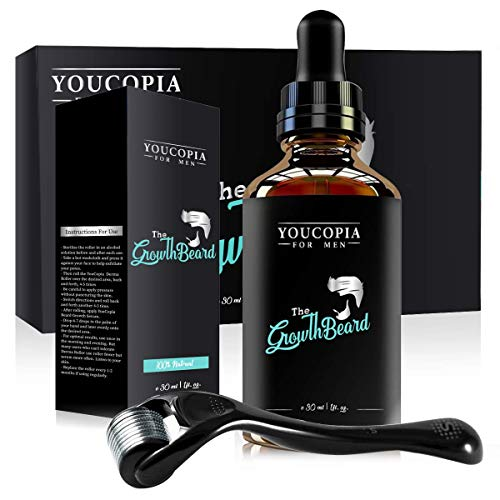 Derma Roller for Beard Growth, Beard Growth Serum, Microneedle Roller and Natural Hair Growth Serum for Men with Patchy Facial Growth, Stimulate Beard Growth Kit, Promote Hair Regrowth
