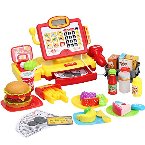 FS Toys Pretend Play Calculator Cash Register with Real Scanner, Microphone, Play Food, Supermarket Cashier, Great Pre-School Gift for Kids, Toddlers, Boys & Girls, Ages 3 4 5 6 7 8
