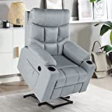 YODOLLA Lift Chair for Elderly, Big and Tall Lift Recliner with Cup Holder,Side Pockets,USB Port & Massage Remote Control, Lazyboy Power Rising Recliner with Heat&Vibration Massage,Grey