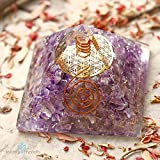 Healing Chakra Pyramid for EMF Crystal Protection & stress relief | Amethyst ORGONE Energy Generator with FLOWER OF LIFE for Prosperity, abundance- Gold Flower of Life and Quartz Point.
