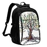 XCNGG Mochila USB con múltiples Bolsillos, Mochila Informal, Mochila Escolar Musical Tree Travel Laptop Backpack with USB Charging Port Multifunction Work School Bag