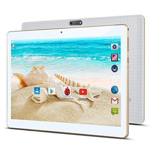 10.1' Inch Android 7.0 Tablet PC,3G Unlocked Phablet 4GB RAM 64GB Storage with Dual sim Card Slots and Cameras,Tablet PC with WiFi,Bluetooth,GPS (White)