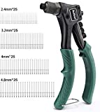 Rivet Gun with 100-Piece Rivets, Single Hand Manual Rivet Gun Kit With 4 Tool-free Interchangeable Color-Coded Heads, 4 in 1 Hand Riveter Set - AHR01