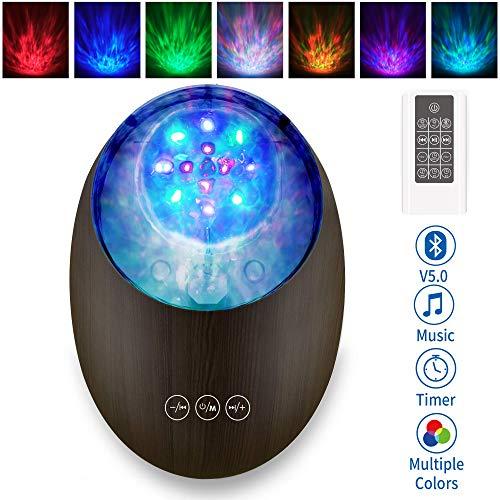 [2020 Neue]Projektor Lampe Bluetooth LED Farbwechsel Nachtlichter mit Remote Timer/8 Beleuchtungsmodi/Musikspieler/TF Karte Dekorative Licht für Kinder Geburtstag Weihnachten Geschenk Stimmungslicht
