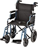 """NOVA Lightweight Transport Chair with Locking Hand Brakes, 12"""" Rear Wheels, Removable & Flip Up Arms for..."""