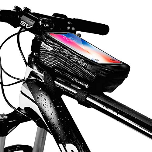 WILD MAN Bike Phone Mount Bag, Cycling Waterproof Front Frame Top Tube Handlebar Bag with Touch Screen Holder Case for iPhone X XS Max XR 8 7 Plus, for Android/iPhone Cellphones Under 6.5