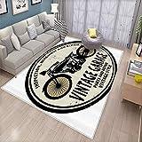Indoor Floor mat,Man Cave Decor Grunge Rubber Stamp Vintage Garage Custom Motorcycle Repair,Floor mats That do not Shrink or Fade 170x260cm