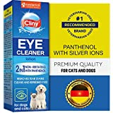 Cliny Universal Pet Eye Wash Cleaner for Dogs & Cats - Natural Gentle Eye Infection Treatment - Tear Stain & Dirt Crust and Discharge Remover - Prevents and Controls Irritation
