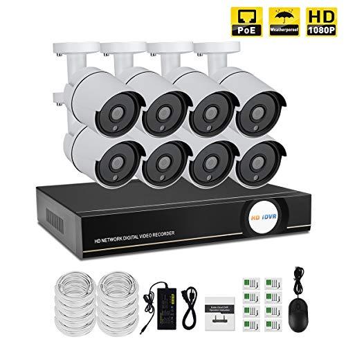 IMATEK - Sistema di telecamera di sorveglianza POE, 8 canali, NVR: IP 1080P, accesso a distanza tramite smartphone/PC, nessun hard disk installato