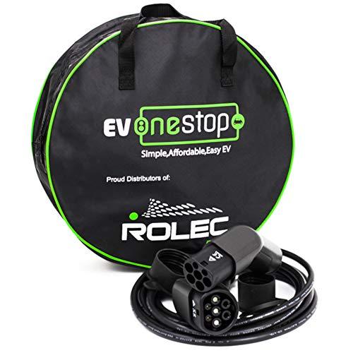 EV - Cable de Carga para vehículo eléctrico, Tipo 2 a Tipo 2, 16 A (3,6 kW) | 5 Metros | Funda de Transporte
