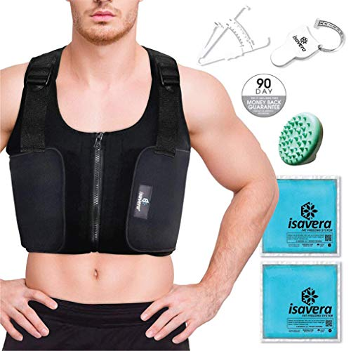 Isavera Man Boobs 'Fat Freezing' Vest | Chest Shaper Breast Reduction Shirt for Men | Compression Vest | Comfortable & Breathable | Man Boob Chest Sculpting | Pecs Shaper Support