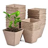 JOYSEUS 40 Pcs 3.25' Seed Starter Pots, Organic Planting Peat Pots for Garden Seedling, 100% Eco-Friendly and Biodegradable Seedling Pots for Seed Germination