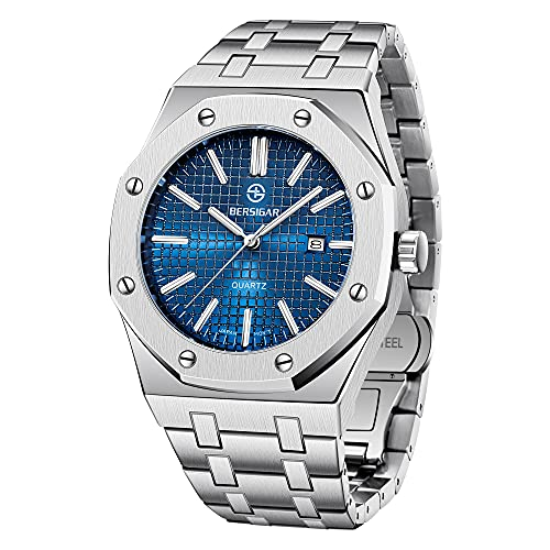 BERSIGAR Herren Uhren Edelstahl Mode Schwer Metall Stil Sport Quarz Uhr Männer Wasserdicht Datum Kalender Armbanduhr Herren Elegantes Geschenk