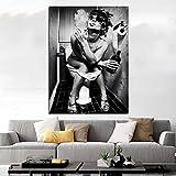 Wfmhra Mujer en Blanco y Negro en el baño Pintura sobre Lienzo Arte de Lienzo Impreso para Carteles e Impresiones de Arte de Pared de baño 70x100cm sin Marco