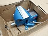 Bessey BV-DF6SB 6' Heavy Duty Bench Vise with Pipe Jaws, Hammer Tone Blue