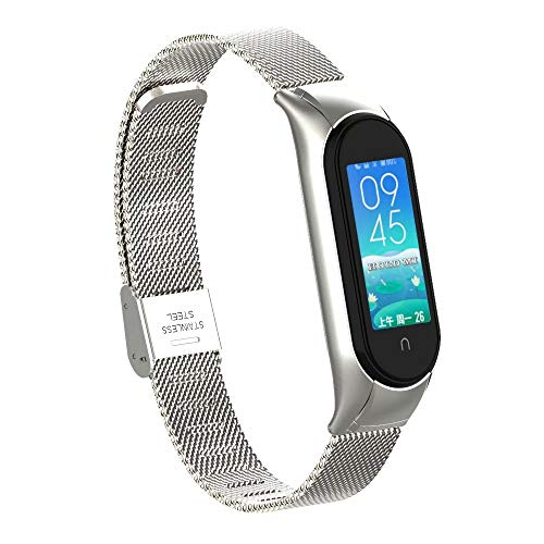 T-BLUER Stainless Steel Metal Band Compatible with Xiaomi Mi Band 5,Xiaomi Miband 5用のステンレスス...
