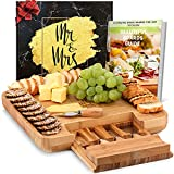 DELUXY Mr. & Mrs. Cheese Board - Cute Bridal Shower Gifts For Bride, Wedding Gifts For Couples 2021, Couples Gifts, Engagement Gifts For Couples Newly Engaged Unique, Mr and Mrs Gifts,Anniversary Gift