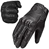 ILM 冬用 バイク グローブ ゴート スキン ナックル ガード スマホ対応 手袋 革(ブラック 穴なしL)