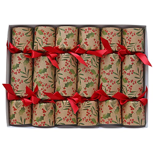 Red Berries English Christmas Favors, Set of Six Colorful Party Favors With Belgian Chocolate Gift Inside
