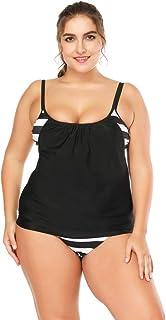 Rawdah-- Costume Intero Costume da Bagno Donne Plus Size Monokini Costumi da Bagno Sexy Le Righe delle Donne allineate raddoppiano Le Serie di Costumi da Bagno Tankini Un Pezzo Sportivo Atletico