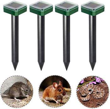 Alittle 4Pcs répulsif pour animaux, répulsif solaire de souris, répulsif de rongeur solaire ultrasonique de taupe de taupe, répulsif de rat de lapin d'oiseau de moustique extérieur pour la ferme d