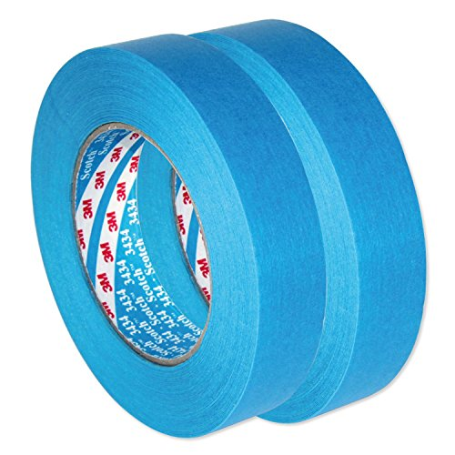 3M Scotch AutoBright Blaues Band Wasserdicht, Automotive Kreppband 3434 110°C 25 mm x 50m x 2