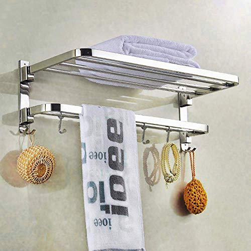 SYNERGY - 304 Grade 24 Inch Stainless Steel Dual Folding Towel Rack for Bathroom/Towel...