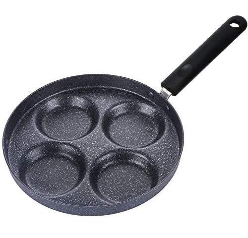 FANDE Padella 4 Fori Pancake per Gas Fornello Cucina Forniture Lega di Alluminio Pentole Antiaderente Multifunzione Manico Lungo Bistecca per Uova, Pancake, Bistecca - 24 cm