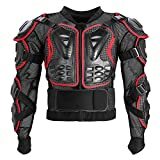 Motorcycle Full Body Armor Protective Jacket ATV Guard Shirt Gear Jacket Armor Pro Street Motocross Protector with Back Protection Men Women for Off-Road Racing Dirt Bike Skiing Skating Red XL