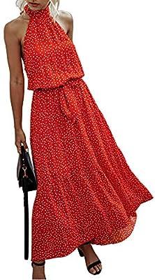 *Unique Design:Halter Neck,Sleeveless,Polka Dot Print,Backless,Adjustable Strap,Ruffle Hem,Lightweight,Loose Fit,Full Length,High Elastic Waist,Belted,Tie Back,A Line Swing Dress,Floral Maxi Beach Dresses,Long Summer Dress,Pull on Closure. *Everyone ...