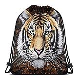 IUBBKI Tiger Head Mochila con cordón Mochila deportiva ligera Bolsa de gimnasio de gran tamaño Mochila de cuerda impermeable para yoga Viajes Compras Hombres Mujeres