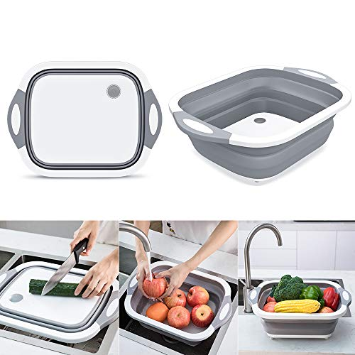 Collapsible Chop and Strain Cutting Board, Mixing Bowl, Colander,...