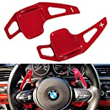 for BMW Paddle Shifter Extensions Cover Trim - Steering Wheel Accessories, Aluminum Metal (Matt Red)