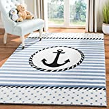 Safavieh Carousel Kids Collection CRK124A Nautical Anchor Nursery Playroom Area Rug, 3'3' x 5'3', Ivory/Navy