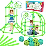 Upgraded Fort Building Kit, 130pcs Glow in The Dark Toys STEM Kids Toys for 4 5 6 7 8 9 Year Old Boys Girls Building Toys Indoor Outdoor Toys for Kids Christmas Halloween Birthday Gifts for Kids