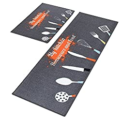 Non-Slip Rubber Backing Doormat Runner Area Mats Sets, Grey