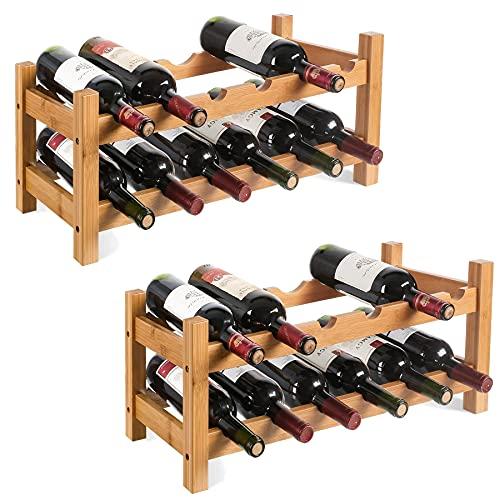 2 Portabottiglie Cantinetta per 12 Bottiglie Portabottiglie per Vino in bamb Portabottiglie Cantinetta per Vino con 2 Ripiani,Scaffale per Spumante Porta Vino per per Vino, Champagne 602425cm