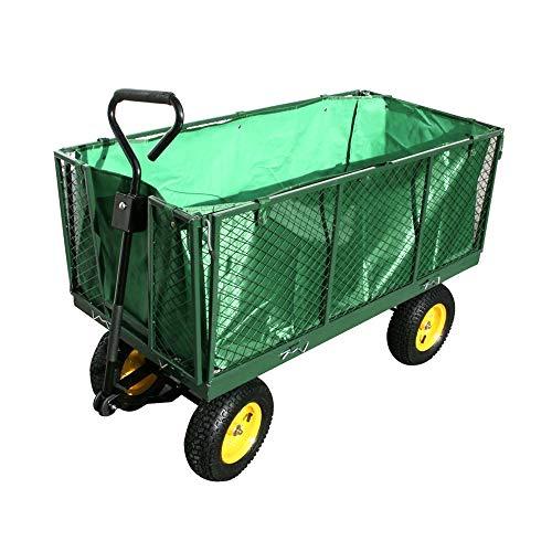 Ouhigher Bollerwagen Gartenkarre - bis 500 kg Belastbar - Herausnehmbare Plane Handwagen Gartenwagen Transportkarre