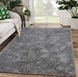 Modern Soft Fluffy Bedroom Rug Shag Fur Area Rugs Non-Slip Indoor Livingroom Dorm Kids Nursery Room Floor Carpet, Large Plush Furry Fur Comfy Accent Home Decorative Mat, 4 x 6 Feet, Grey