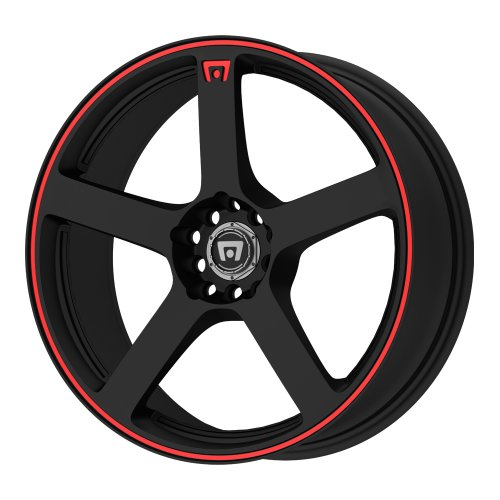 Motegi Racing MR116 Matte Black Wheel With Red Racing Stripe (18x8'/5x100, 114.3mm, +45mm offset)