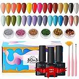 Esmaltes Semipermanentes, Abody 43PCS Esmalte de Uñas en Gel UV LED, Incluye 30 Colores Esmaltes de Uñas, con Base, Capa Superior Brillante y...