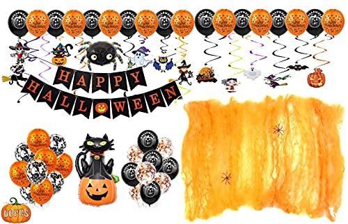 Fontee® 60 piezas halloween decoracion accesorios, Happy Halloween globos, pancarta,...