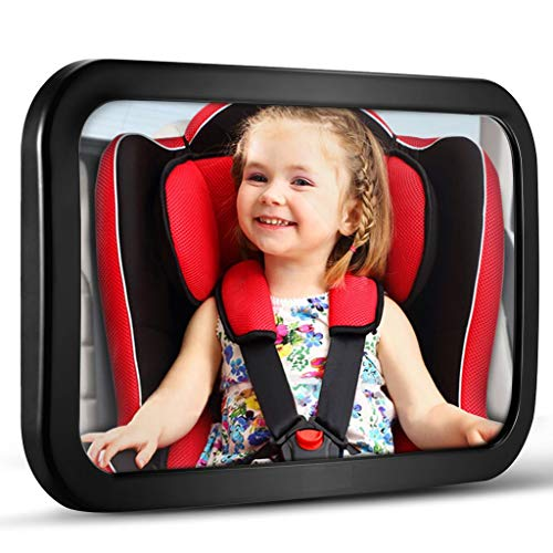 Baby Car Mirror, DARVIQS Car Seat Mirror, Safely Monitor Infant Child in Rear Facing Car Seat, Wide View Shatterproof Adjustable Acrylic 360for Backseat, Crash Tested and Certified for Safety